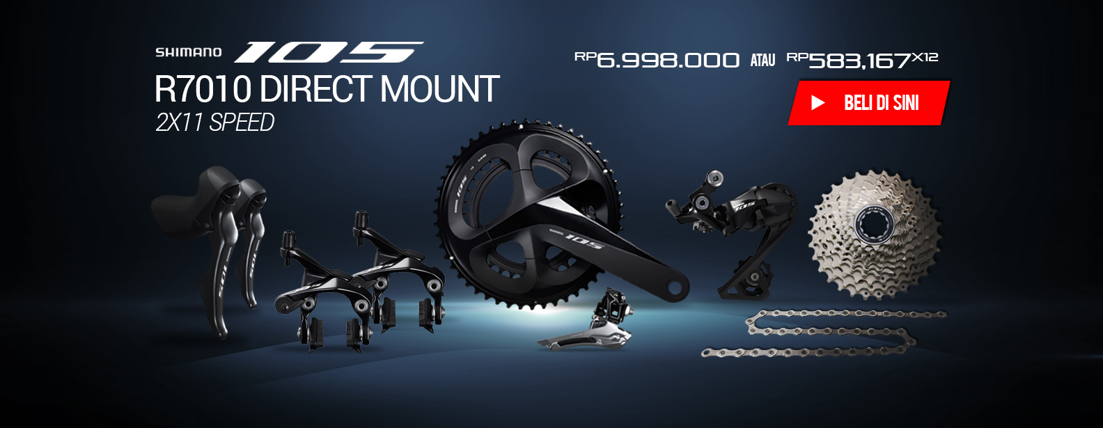 Shimano Groupset Sepeda 105 R7010 Direct Mount 2x11 Speed